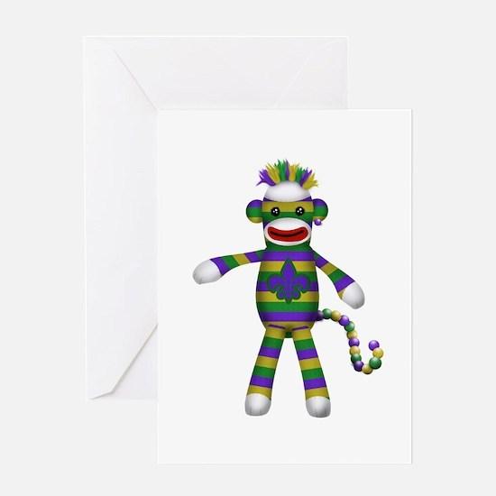 Mardi Gras Sock Monkey Greeting Cards