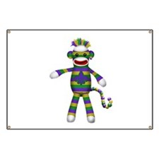 Mardi Gras Sock Monkey Banner