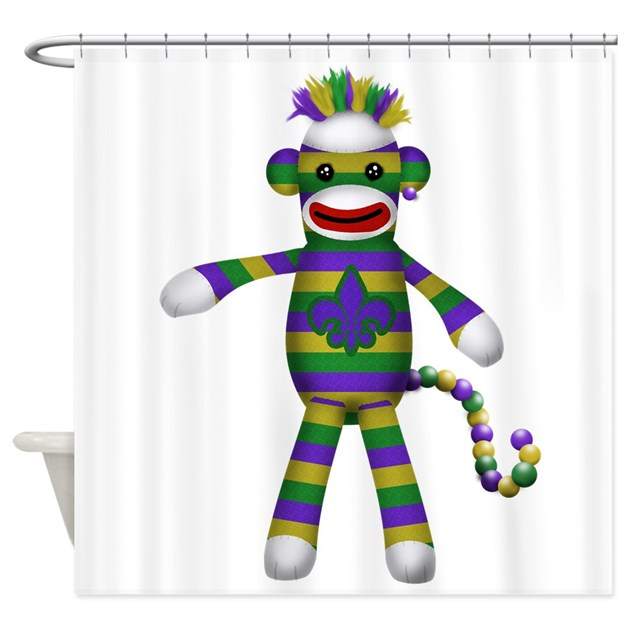 Mardi Gras Sock Monkey Shower Curtain By MagicGardenDesigns