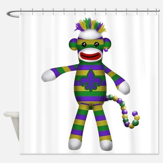 Mardi Gras Sock Monkey Shower Curtain