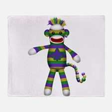 Mardi Gras Sock Monkey Throw Blanket
