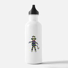 Mardi Gras Sock Monkey Water Bottle