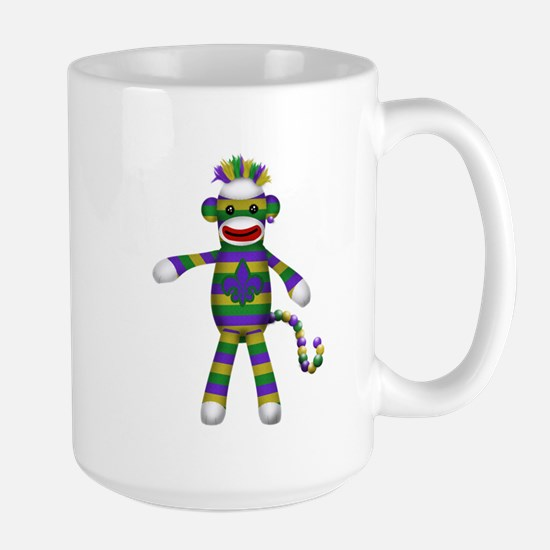 Mardi Gras Sock Monkey Mugs