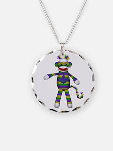 Mardi Gras Sock Monkey Necklace