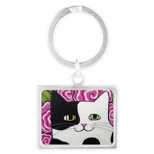 Black and White Spotted Cow Cat Landscape Keychain