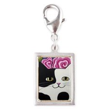 Black and White Spotted Cow  Silver Portrait Charm