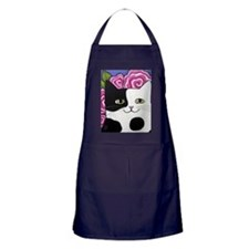 Black and White Spotted Cow Cat Pink  Apron (dark)