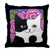 Black and White Spotted Cow Cat Pink  Throw Pillow
