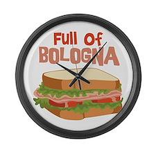 Full Of Bologna Large Wall Clock