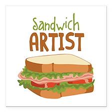 """Sandwich Artist Square Car Magnet 3"""" x 3"""""""