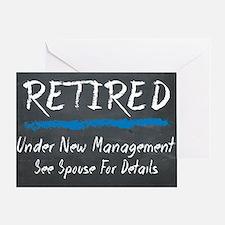 Chalkboard Retired Under New Managem Greeting Card