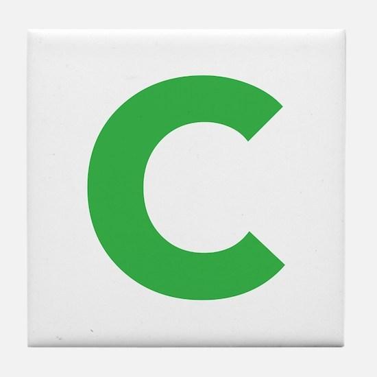 Letter C Green Tile Coaster