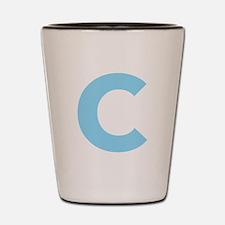 Letter C Light Blue Shot Glass