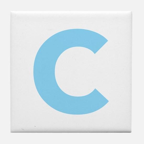 Letter C Light Blue Tile Coaster