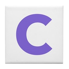 Letter C Purple Tile Coaster