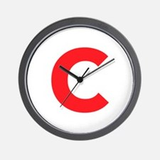 Letter C Red Wall Clock