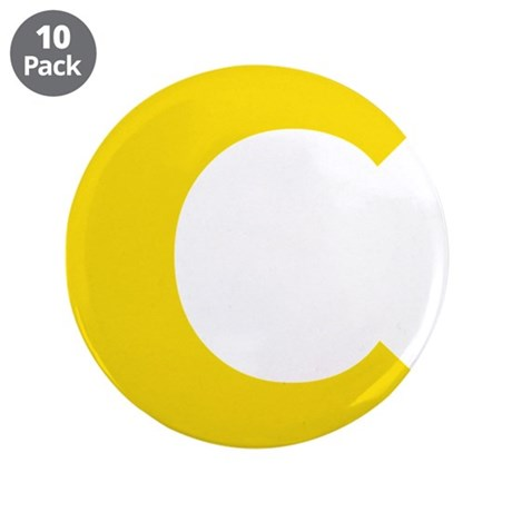 "Letter C Yellow 3.5"" Button (10 pack)"