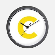 Letter C Yellow Wall Clock