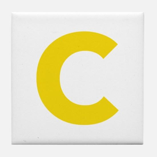 Letter C Yellow Tile Coaster