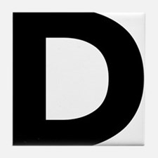 Letter D Black Tile Coaster