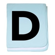 Letter D Black baby blanket