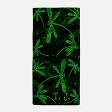 Dragonfly Flit Electric Green Beach Towel