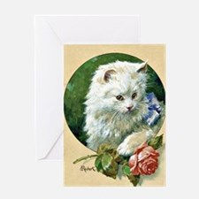 Cat and Rose - Vintage artwork by Ca Greeting Card