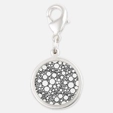 Bubbles on Black Silver Round Charm