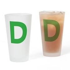Letter D Green Drinking Glass