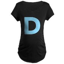 Letter D Light Blue Maternity T-Shirt