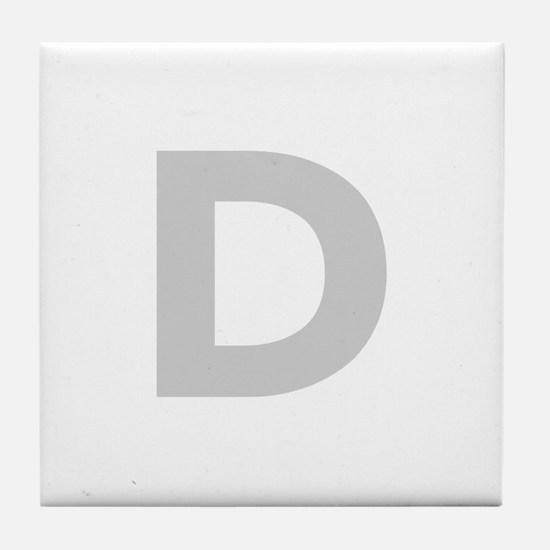 Letter D Light Gray Tile Coaster