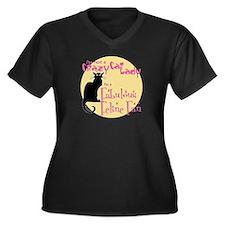 Feline Fan Women's Plus Size V-Neck Dark T-Shirt