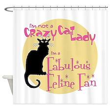 Feline Fan Shower Curtain