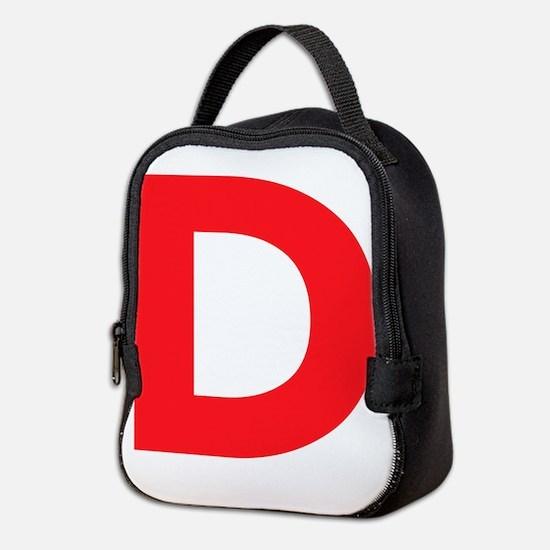 Letter D Red Neoprene Lunch Bag