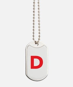 Letter D Red Dog Tags