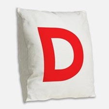 Letter D Red Burlap Throw Pillow