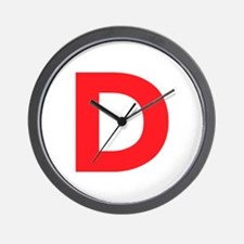 Letter D Red Wall Clock