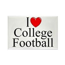 """I Love (Heart) College Football"" Rectangle Magnet"