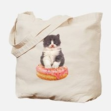 Kitten on a Donut Tote Bag