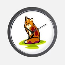 Sitting Pretty Red Fox Wall Clock