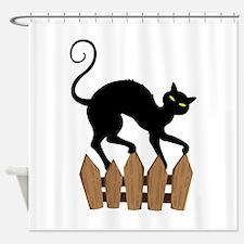 Creepy Black Cat Shower Curtain