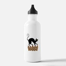 Creepy Black Cat Water Bottle