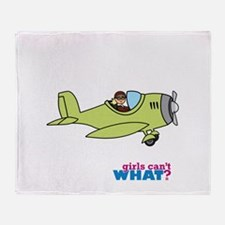 Girl Airplane Pilot Light/Blonde Throw Blanket