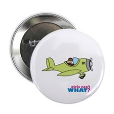 "Girl Airplane Pilot Light/Blonde 2.25"" Button"