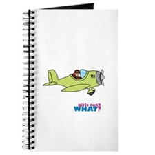 Girl Airplane Pilot Light/Red Journal