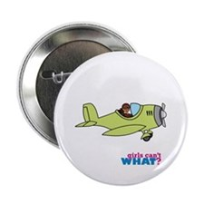 "Girl Airplane Pilot Dark 2.25"" Button"