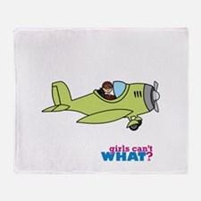 Girl Airplane Pilot Medium Throw Blanket