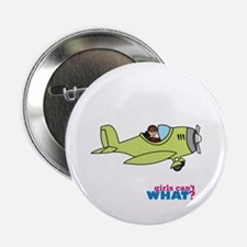 "Girl Airplane Pilot Medium 2.25"" Button"