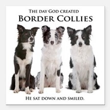 """Creation of Border Collies Square Car Magnet 3"""" x"""