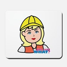 Construction Worker Head - Light/Blonde Mousepad